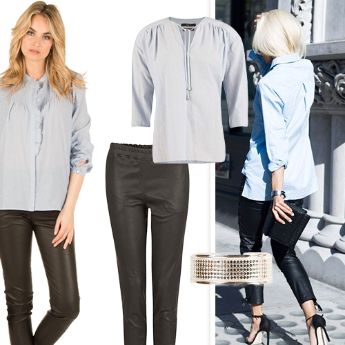 34b24d82abd Even dark leather pants are approved this season. Style these pants with a  light blouse (white