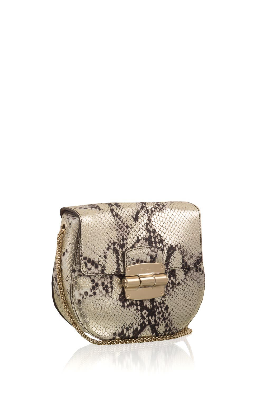 Leather Shoulder Bag Club Mini Gold Furla Little Soho Brown