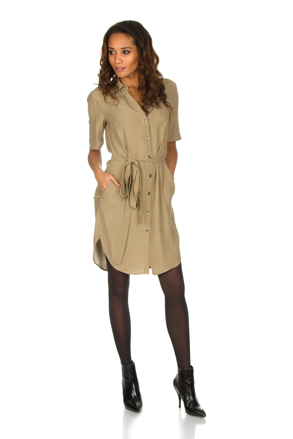 official photos b9b60 f85ce 100% viscose dress with collar Donna | beige