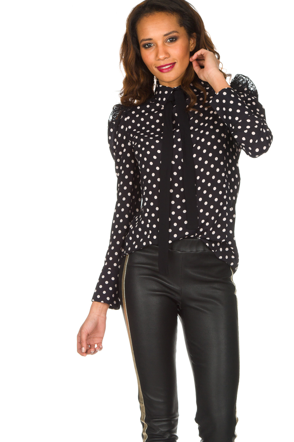 24ef79f5150 Dotted blouse with lace | black