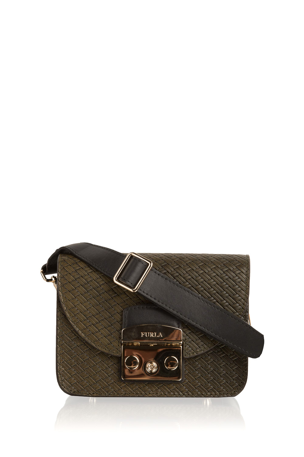 Furla | Woven shoulder bag Metropolis mini | green | Picture ...