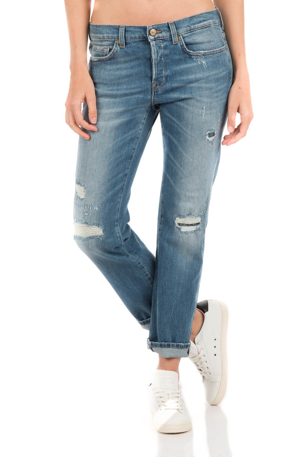 Cropped ripped jeans Jared | blue... | 7 For All Mankind | Little Soho
