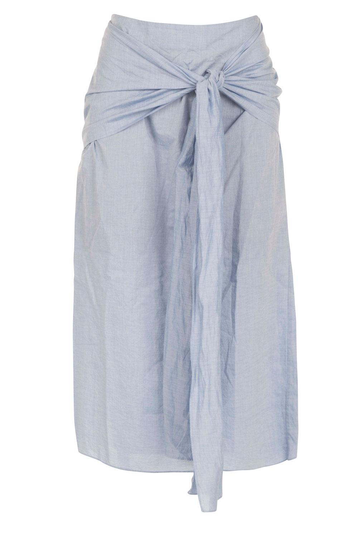 wide range on feet shots of elegant and graceful Midi skirt with bow Marlon   blue