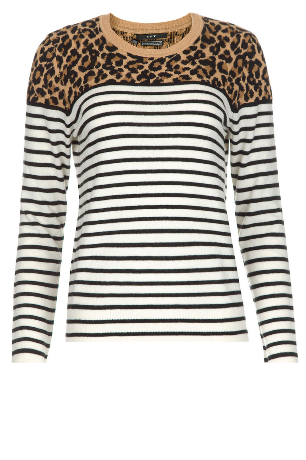 Trui Met Print.Striped Sweater With Panther Print Sailor Beige Set Little Soho