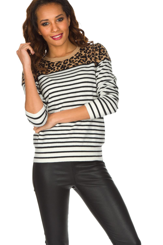 Trui Met Panterprint.Striped Sweater With Panther Print Sailor Beige Set Little Soho