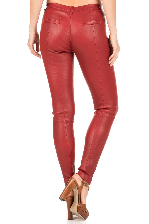 rode leren broek dames