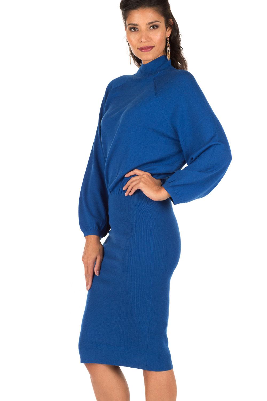 blauwe jurk met col