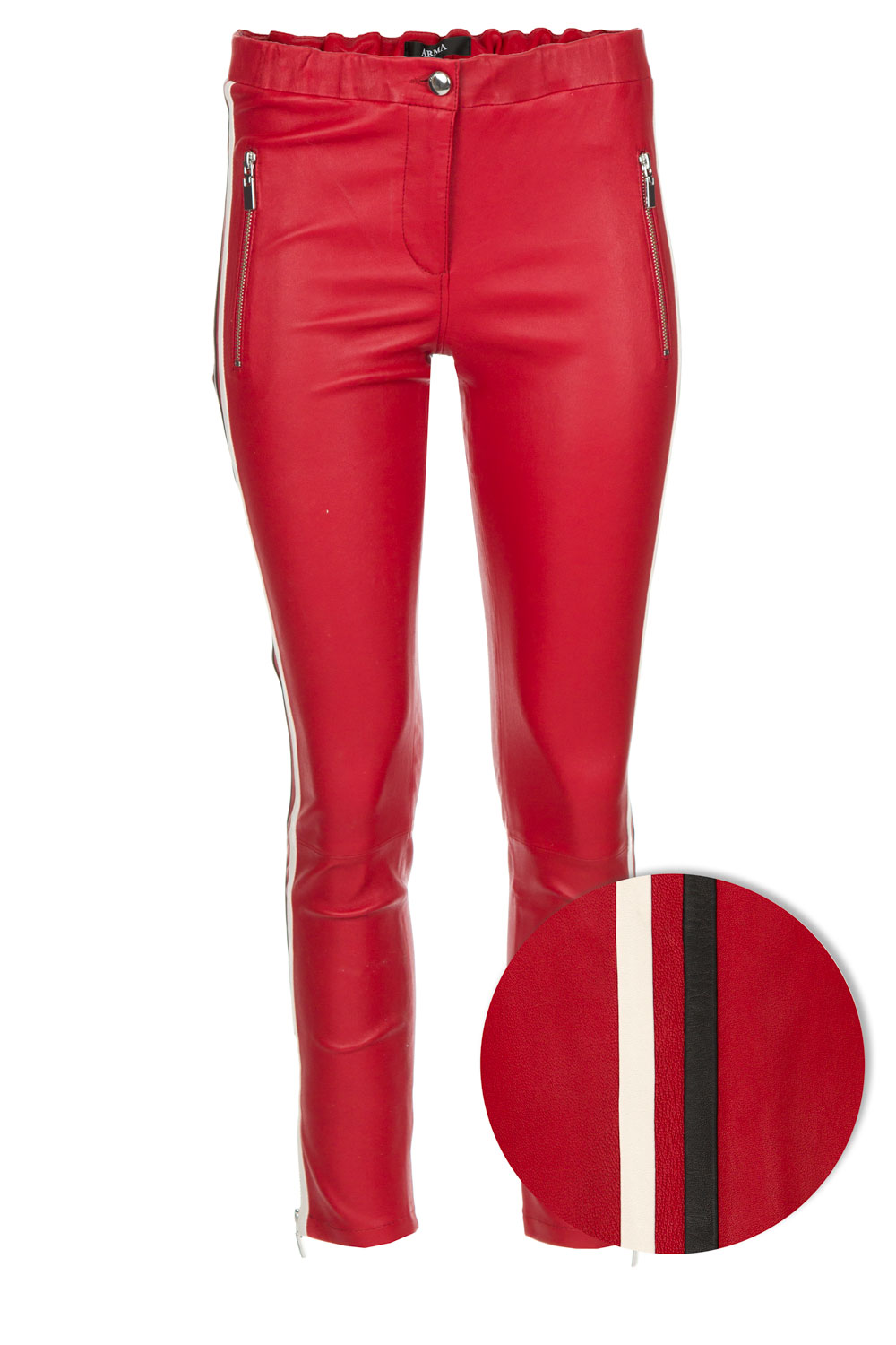 Lambs leather pants with side stripe Lacay | Red