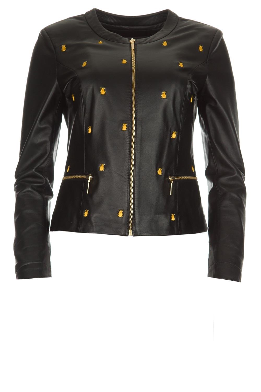 Leren jas met borduursels Allure | black