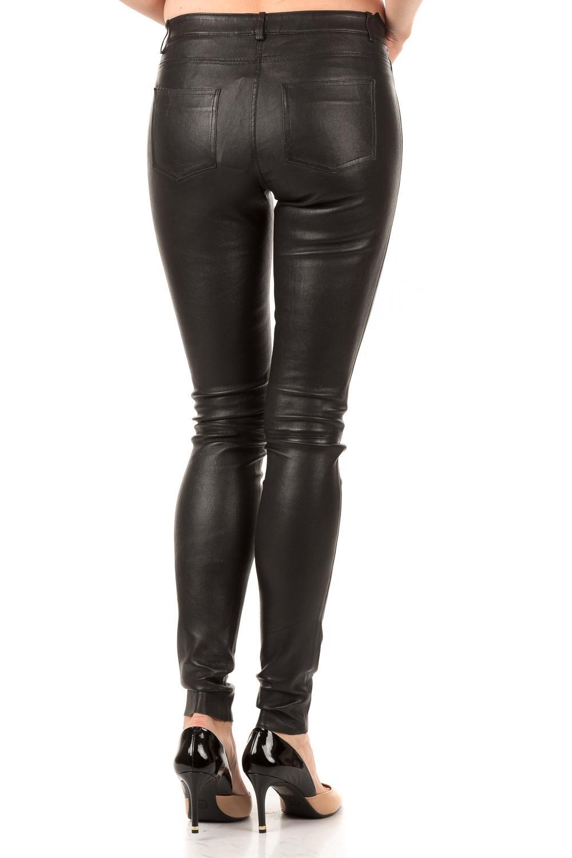 Leren 5 pocket broek Cory | zwart