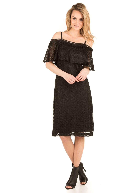 off shoulder jurk zwart