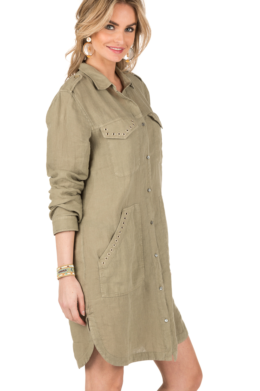 Hedendaags Linen blouse dress Azeilia | army green... | MASONS | Little Soho AK-24