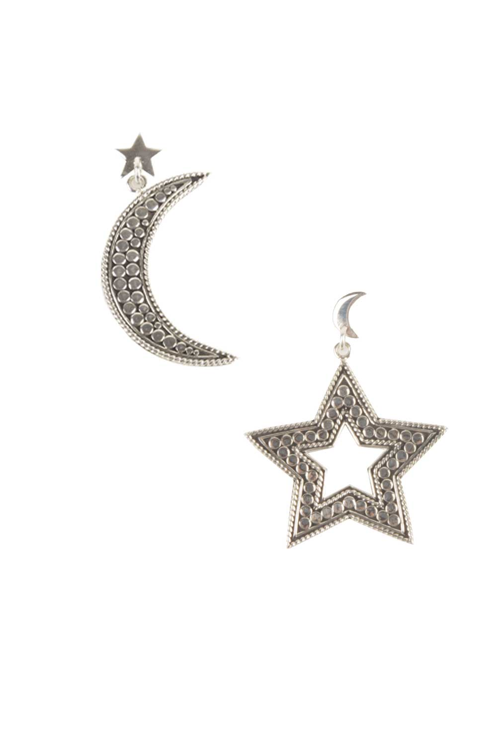 925 Sterling Earrings Star And Moon Silver Close To Zen