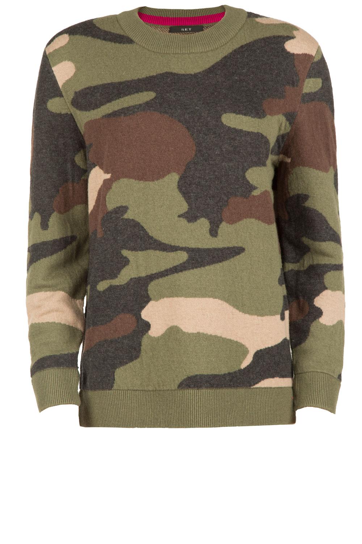 Legerprint Trui Dames.Legerprint Trui Luna Army Print Sweater Luna Green Set