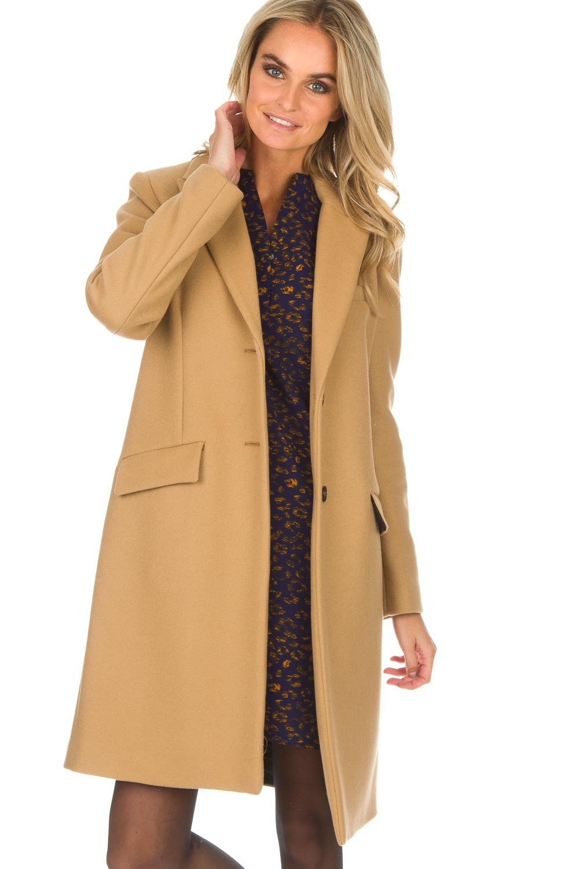 Wollen mantel camel