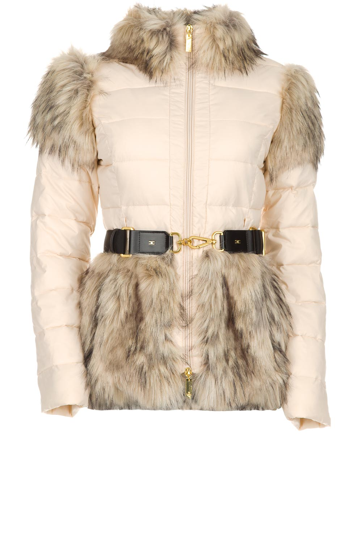 f57f0d5b8b6 ELISABETTA FRANCHI | Down jacket with faux-fur Victoria | natural | Picture  ...