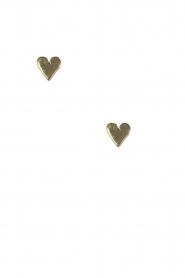 Betty Bogaers | 14k verguld gouden oorbellen Asymmetric Heart | goud  | Afbeelding 2