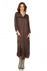 Rabens Saloner |  Wide maxi dress Bole | dark brown  | Picture 2