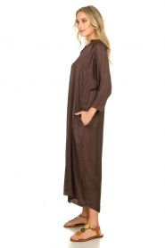 Rabens Saloner |  Wide maxi dress Bole | dark brown  | Picture 5