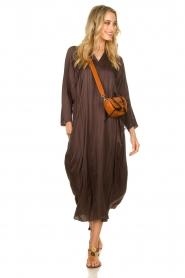 Rabens Saloner |  Wide maxi dress Bole | dark brown  | Picture 3