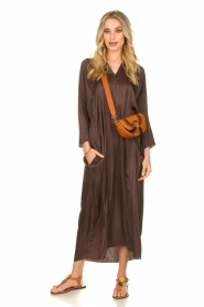 Rabens Saloner |  Wide maxi dress Bole | dark brown  | Picture 4