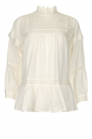 Rabens Saloner |  Lace blouse Cia | white  | Picture 1