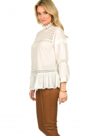Rabens Saloner |  Lace blouse Cia | white  | Picture 4