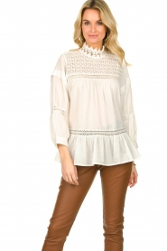 Rabens Saloner |  Lace blouse Cia | white  | Picture 3