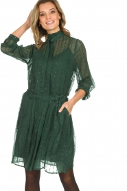 Munthe |  Dress with glitter stripes Net | green  | Picture 4