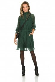 Munthe |  Dress with glitter stripes Net | green  | Picture 3