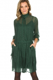 Munthe |  Dress with glitter stripes Net | green  | Picture 2