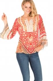 Hale Bob | Zijden blouse Barbra | rood  | Afbeelding 2