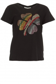 Munthe |  Cotton T-shirt with small stones Norha | black  | Picture 1