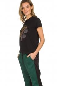 Munthe | Katoenen T-shirt met steentjes Norha | zwart  | Afbeelding 4