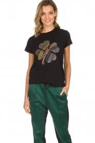 Munthe | Katoenen T-shirt met steentjes Norha | zwart  | Afbeelding 2