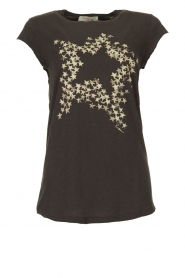 Rabens Saloner |  T-shirt with stars print Elixia | grey  | Picture 1