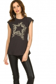 Rabens Saloner |  T-shirt with stars print Elixia | grey  | Picture 2
