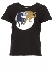 Munthe | T-shirt met opdruk Nostalgic | zwart  | Afbeelding 1