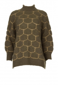 Rabens Saloner |  Oversized turtleneck sweater Cora | green  | Picture 1
