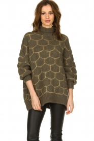 Rabens Saloner |  Oversized turtleneck sweater Cora | green  | Picture 2