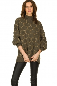Rabens Saloner |  Oversized turtleneck sweater Cora | green  | Picture 5