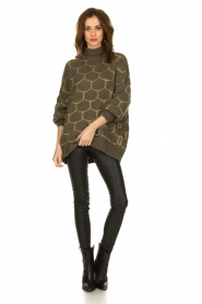 Rabens Saloner |  Oversized turtleneck sweater Cora | green  | Picture 3