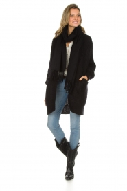 Munthe |  Long knitted cardigan Nadeen | black  | Picture 3