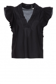 Magali Pascal |  Top with ruffles Sumba | black  | Picture 1