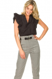 Magali Pascal |  Top with ruffles Sumba | black  | Picture 5
