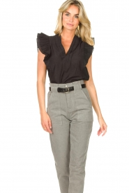 Magali Pascal |  Top with ruffles Sumba | black  | Picture 6