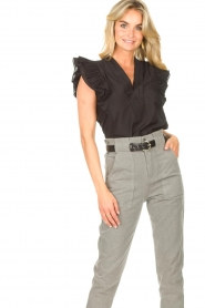 Magali Pascal |  Top with ruffles Sumba | black  | Picture 2