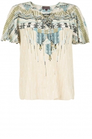 Hale Bob |  Silk lace-up top Lucy | blue  | Picture 1