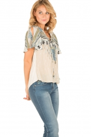 Hale Bob |  Silk lace-up top Lucy | blue  | Picture 4