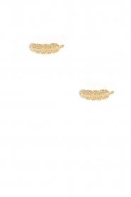 Betty Bogaers | 14k verguld gouden oorbellen Feather | goud  | Afbeelding 2
